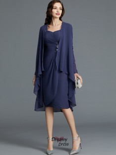 Sheath/Column Sweetheart Chiffon Knee-Length Mother of the Bride Dress