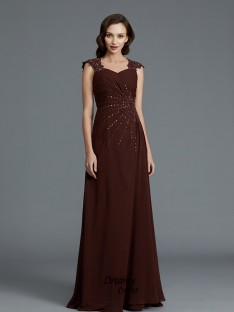 A-Line/Princess Sweetheart Chiffon Floor-Length Beading Mother of the Bride Dress