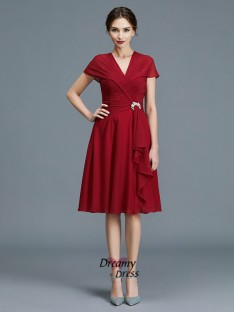A-Line V-neck Chiffon Knee-Length Mother of the Bride Dress