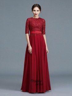 A-Line Scoop Chiffon Floor-Length Mother of the Bride Dress