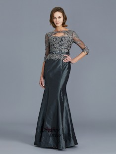 Mermaid Scoop Floor-Length Taffeta Mother of the Bride Dress