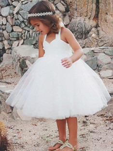 A-Line Halter Tea-Length Tulle Flower Girl Dress