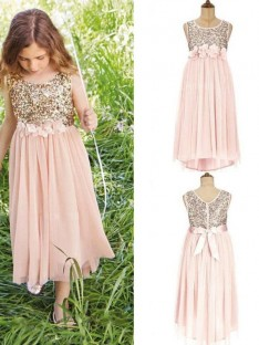 A-Line Scoop Asymmetrical Sequin Chiffon Flower Girl Dress
