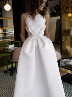 A-Line Halter Tea-Length Satin Dress