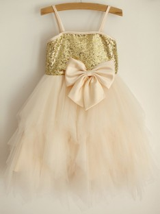 A-Line Spaghetti Straps Tulle Knee-Length Flower Girl Dress