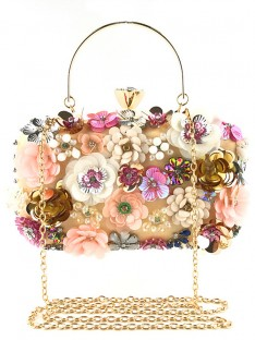 Satin Evening/Casual Bags with Flowers