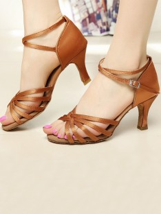 Satin Cone Heel Peep Toe Sandals