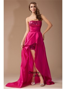 A-Line Strapless Sequin Lace High Low Taffeta Dress