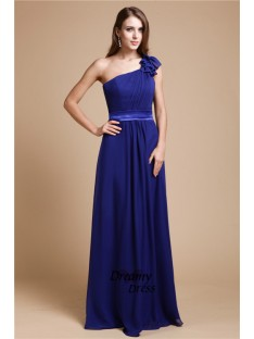 A-Line One-Shoulder Long Chiffon Dress
