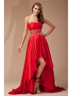 A-Line Strapless High Low Taffeta Dress
