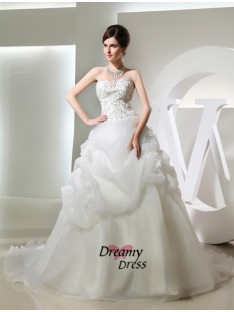 Ball Gown Long Organza Wedding Dress
