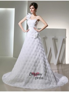 A-Line One-shoulder Taffeta Long Wedding Dress