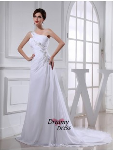 A-Line One-shoulder Chiffon Wedding Dress