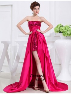 A-Line High Low Strapless Taffeta Dress