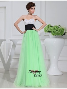 A-Line Satin Tulle Long Dress