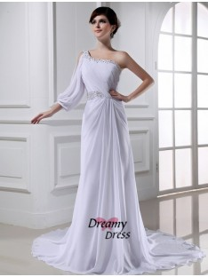 A-Line One-shoulder One-sleeve Chiffon Wedding Dress