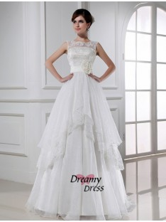 A-Line Long Lace Organza Wedding Dress
