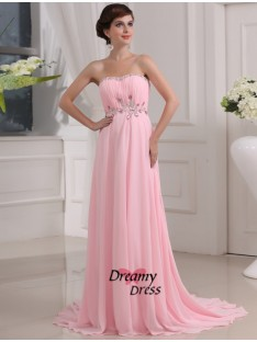 A-Line Strapless Long Chiffon Dress