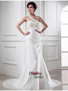 Mermaid One-shoulder Lace Satin Long Wedding Dress