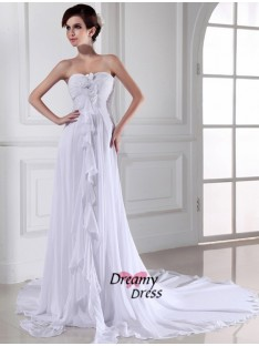 Sheath Sweetheart Chiffon Long Wedding Dress