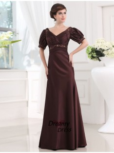 Sheath V-neck Long Satin Dress
