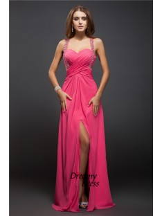 Sheath Straps Long Chiffon Dress