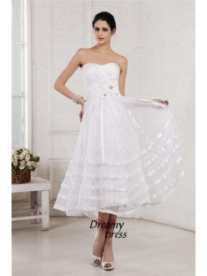 A-Line Strapless Short Organza Taffeta Wedding Dress