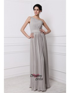 Sheath One-Shoulder Long Chiffon Dress