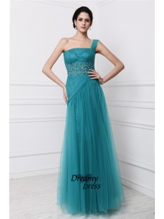 Sheath One-Shoulder Long Net Dress