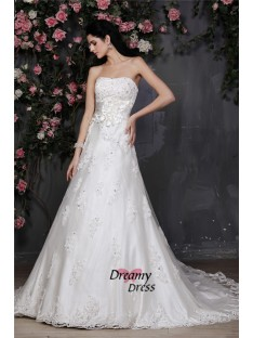 A-Line Strapless Net Wedding Dress