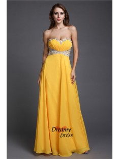 A-Line Sweetheart Long Chiffon Dress