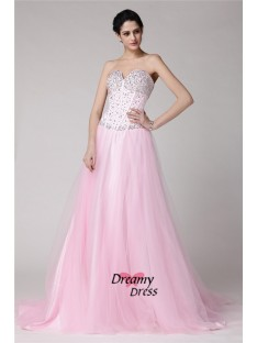 A-Line Sweetheart Long Elastic Woven Satin Net Dress