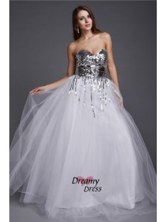 A-Line Sweetheart Sequin Long Net Dress