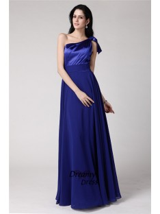 A-Line One-Shoulder Long Elastic Woven Satin Chiffon Dress