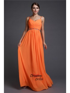 A-Line Spaghetti Straps Long Chiffon Dress