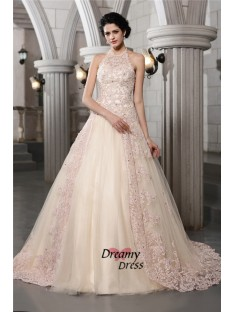 A-Line High Neck Long Net Wedding Dress