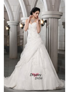 A-Line Sweetheart Long Organza Wedding Dress