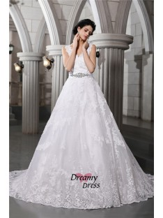 A-Line V-neck Long Organza Wedding Dress
