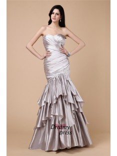 Mermaid Strapless Long Elastic Woven Satin Dress