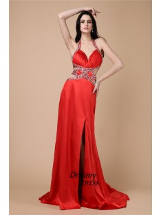 Sheath Halter Long Elastic Woven Satin Dress