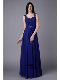 A-Line Straps Long Chiffon Dress