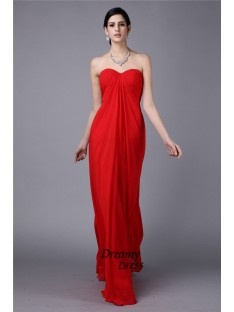 Sheath Strapless Long Chiffon Dress