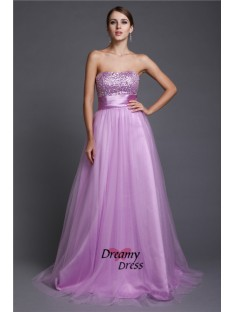A-Line Strapless Long Net Dress