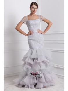 Mermaid Straps Long Organza Dress