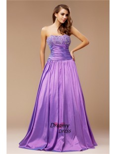 A-Line Strapless Long Taffeta Dress