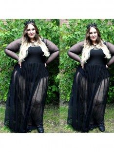 A-Line/Princess Sheer Neck Floor-Length Chiffon Plus Size Dress
