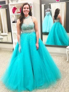 Ball Gown High Neck Floor-Length Tulle Plus Size Dress