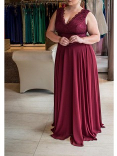A-Line/Princess V-neck Sweep/Brush Train Chiffon Plus Size Dress