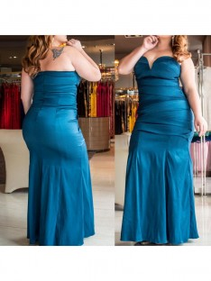 Trumpet/Mermaid Sweetheart Floor-Length Elastic Woven Satin Plus Size Dress