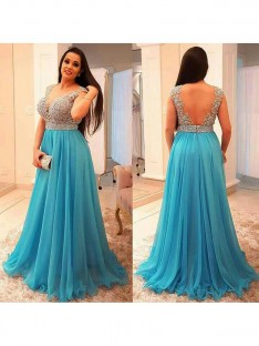 A-Line/Princess V-neck Floor-Length Chiffon Plus Size Dress